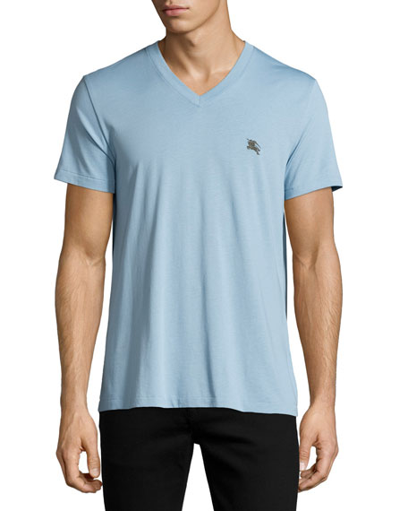 BurberryLindon Cotton V-Neck T-Shirt, Pale Blue
