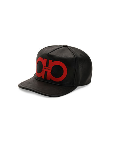 Gancini Vegan-Leather Baseball Cap, Black/Red
