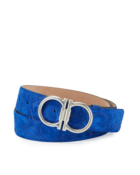 Double-Gancini Embossed Suede Belt, Navy