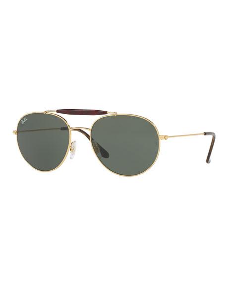 mini aviator sunglasses xwtd  RB3540 Highstreet Aviator Sunglasses, Gold/Green