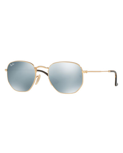 Icons Hexagonal Flash Sunglasses, Gold/Silver