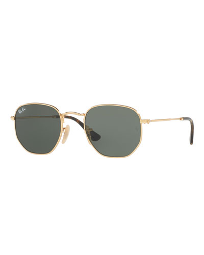 Icons Hexagonal Sunglasses, Gold/Green