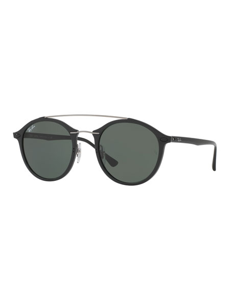 Tech Light Ray Double-Bridge Sunglasses, Black