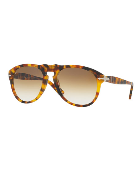 Persol PO649S Aviator Sunglasses, Spotted Havana/Brown