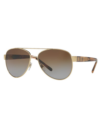 Men's Acoustic Core Check-Temple Metal Aviator Sunglasses, Golden
