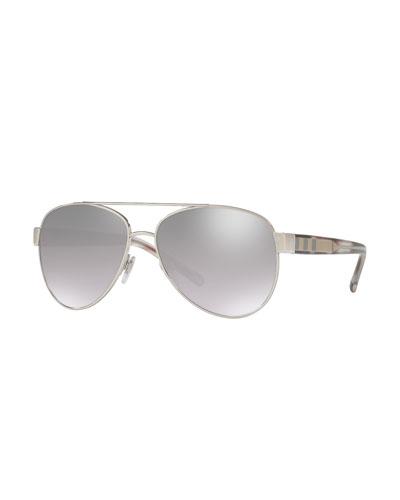 Men's Acoustic Core Check-Temple Metal Aviator Sunglasses, Silvertone