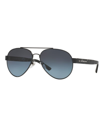Men's Tailoring Polarized Aviator Sunglasses, Black