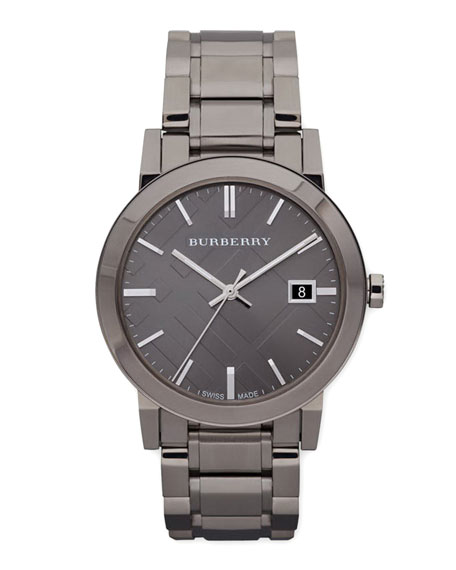 Burberry Sunray Check Watch, Light Gray