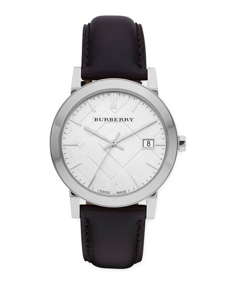 Burberry Sunray White Dial Check Watch with Leather