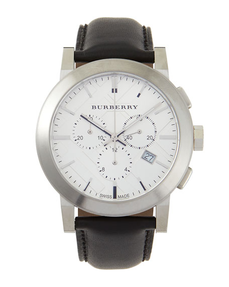 Check-Dial Leather-Strap Watch, Silver//Black