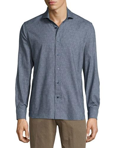 Kashmir Long-Sleeve Printed Woven Shirt, Blue