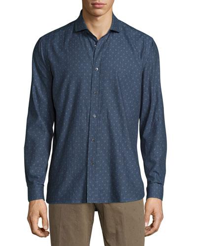 Peace Long-Sleeve Printed Woven Shirt, Denim