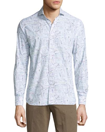 Leonardo Long-Sleeve Woven Shirt, Multi