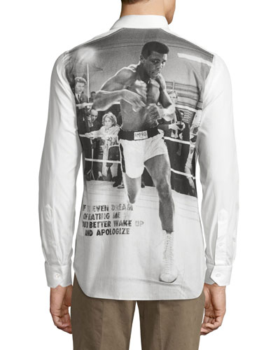 Muhammad Ali Long-Sleeve Woven Shirt, White