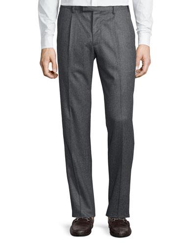 Wool Single-Pleat Trousers, Gray