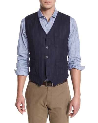 Wool Douglas Woven Vest, Navy