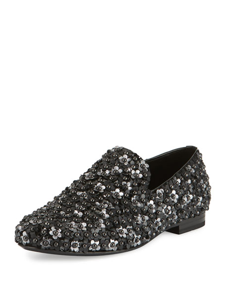 Jimmy Choo Sloane Men's Floral-Stud Slipper, Black
