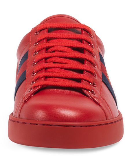 New Ace Embroidered Low-Top Sneaker, Red