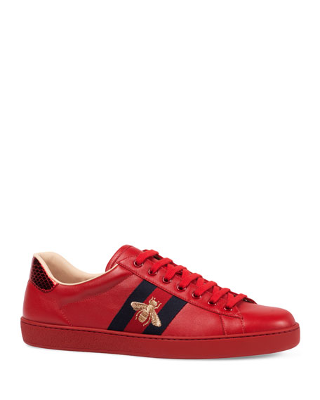 Gucci New Ace Embroidered Low-Top Sneaker, Red