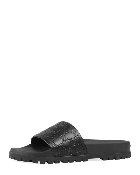 Gucci Signature Slide Sandal, Black