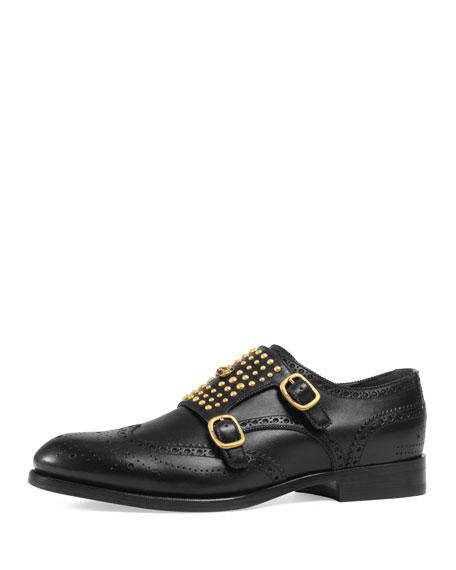 Gucci Queercore Brogue Monk Shoe, Black