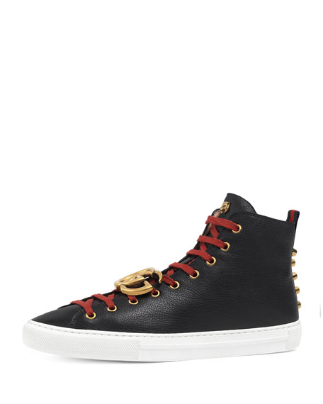 Gucci Major Leather High-Top Sneaker w/GG Ornament, Black