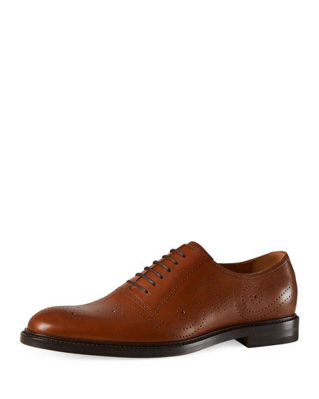 Gucci Leather Bee Brogue Lace-Up Oxford, Brown