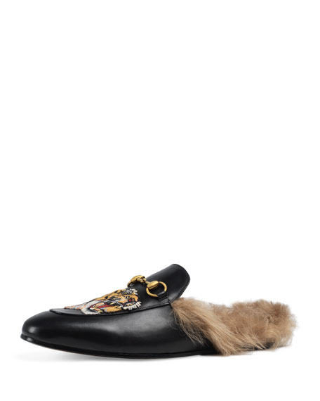 Gucci Princetown Fur-Lined Slipper w/Tiger Embroidery, Black