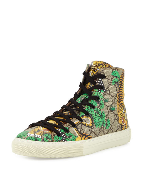 Gucci Bengal Canvas High-Top Sneaker, Multicolor