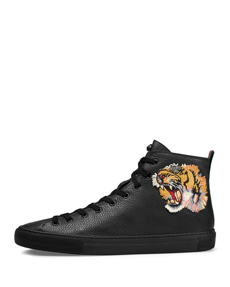 Major High-Top Sneaker w/Tiger Patch, Black