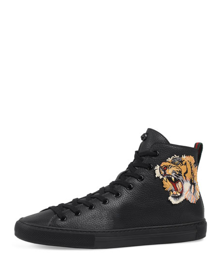 Gucci Major High-Top Sneaker w/Tiger Patch, Black