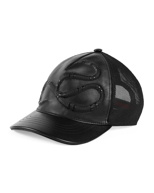 Gucci Snake-Embossed Leather Baseball Hat 15fbaf1df33