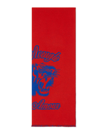 Gucci Wool Tiger Jacquard Scarf, Navy/Red