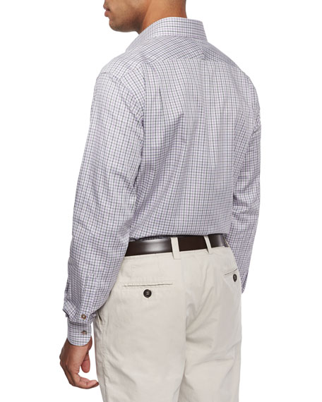 Chambray Check Sport Shirt, Gray