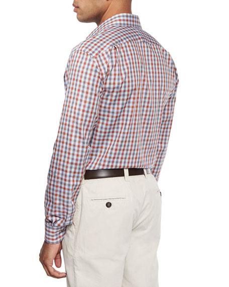Chambray Check Sport Shirt, Red