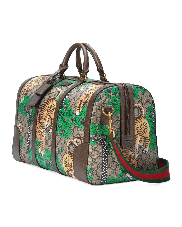 a0aa27c3ae10 Gucci Bengal GG Supreme Duffel Bag, Beige   Neiman Marcus