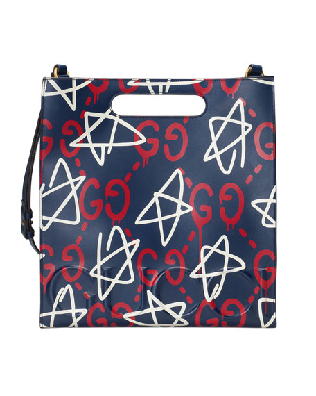Gucci GucciGhost Small Leather Tote Bag, Blue/Red