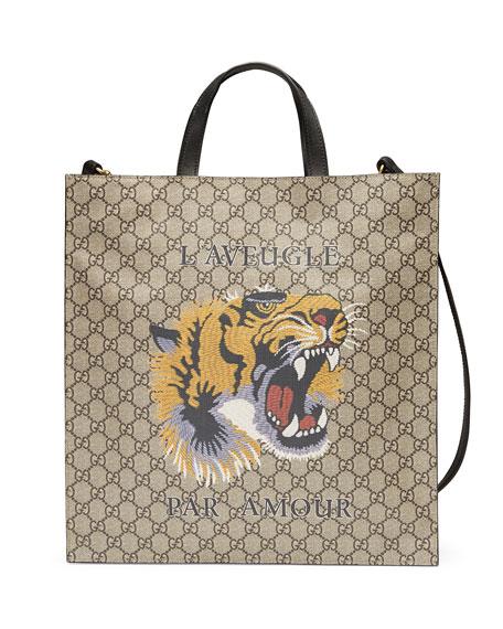 Gucci Tiger Face Soft GG Supreme Tote, Beige