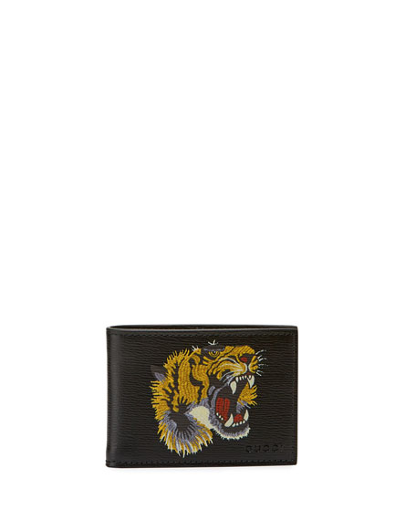 Gucci Bestiary Embroidered Tiger Face Leather Wallet, black