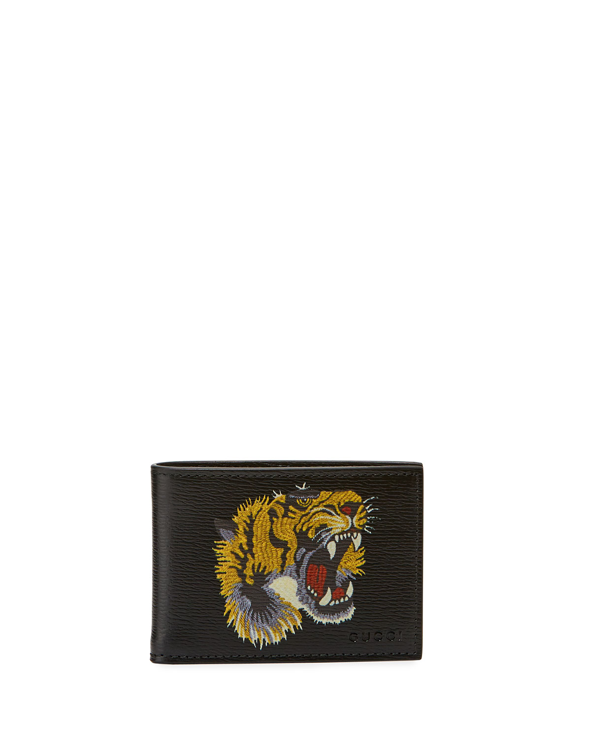 Gucci Bestiary Embroidered Tiger Face Leather Wallet b6bee69468c