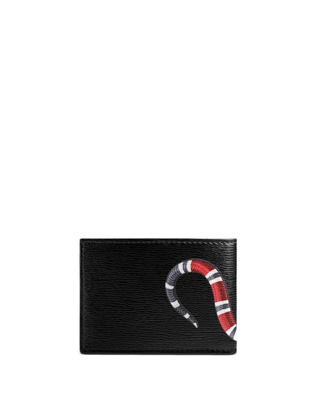 Image 3 of 3: Bestiary Snake-Print Leather Wallet, Black