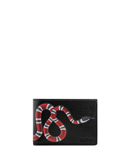 Image 1 of 3: Bestiary Snake-Print Leather Wallet, Black