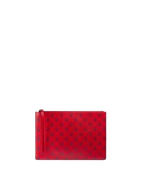 GucciGhost Skull Leather Pouch, Red