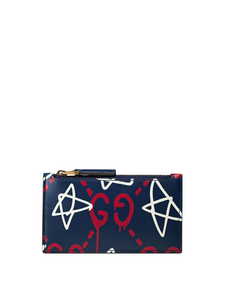 Gucci GucciGhost Star Leather Card Case, Navy