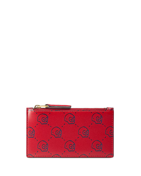 GucciGhost Skull Leather Card Case, Red