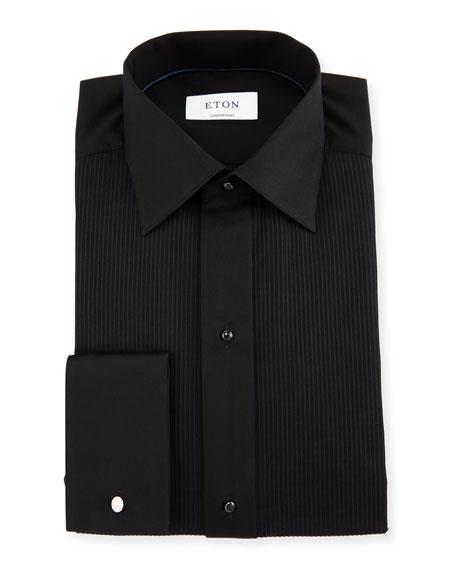 Eton Contemporary-Fit Pleat-Front Formal Shirt, Black