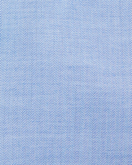 Slim-Fit Herringbone Dress Shirt, Blue