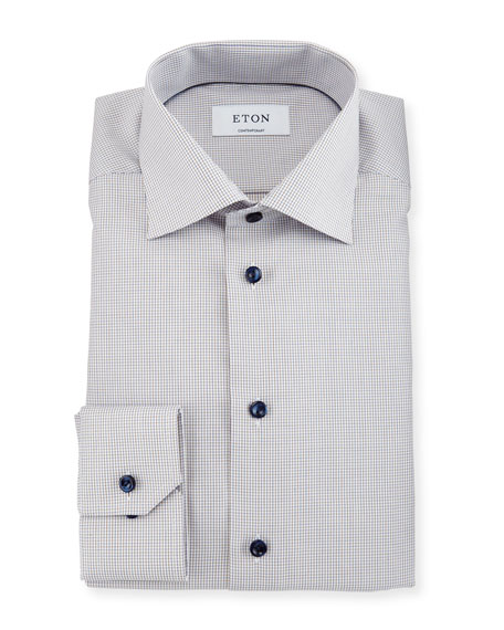 Eton Contemporary-Fit Mini-Check Dress Shirt, White/Brown
