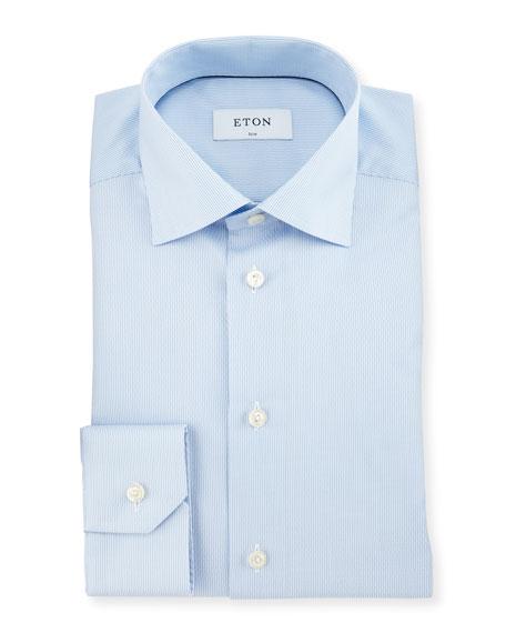 Eton Slim-Fit Textured-Stripe Dress Shirt, Light Blue