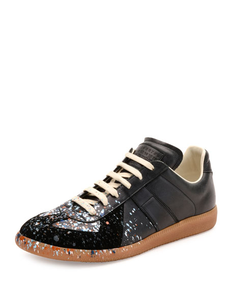 Maison Margiela Pollock Paint-Splatter Leather & Suede Low-Top